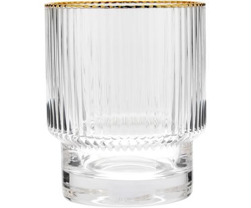 Handgefertigte Wassergläser Minna mit Rillenrelief und Goldrand, 4 Stück