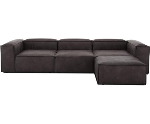 Modulares Sofa Lennon (4-Sitzer) mit Hocker in Braungrau aus recyceltem Leder