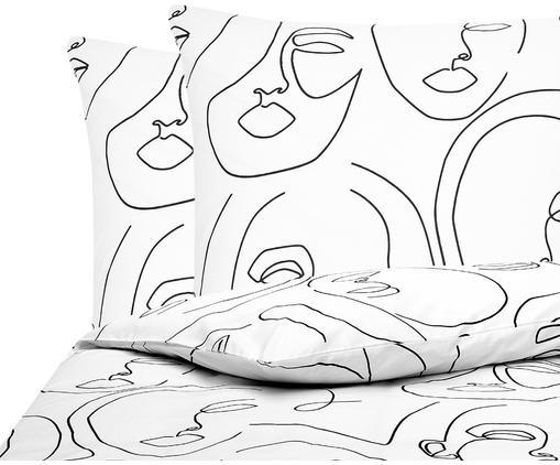Baumwollperkal-Bettwäsche Aria mit One Line Zeichnung