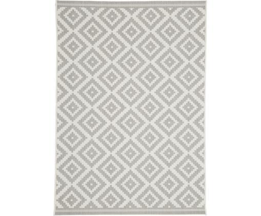 Gemusterter In- & Outdoor-Teppich Miami in Grau/Weiß