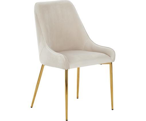 Samt-Polsterstuhl Ava mit goldfarbenen Beinen