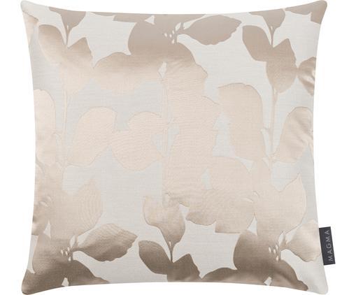 Kissenhülle Ariela in Beige mit glänzenden Blättermotiven