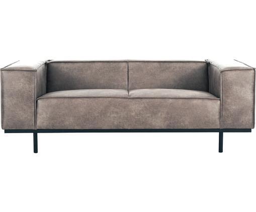 Leder-Sofa Abigail (2-Sitzer) in Braungrau mit Metall-Füßen