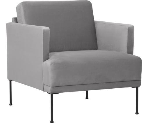 Samt-Sessel Fluente in Hellgrau mit Metall-Füßen