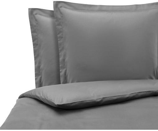 Satin-Bettwäsche Premium aus Bio-Baumwolle in Dunkelgrau mit Stehsaum