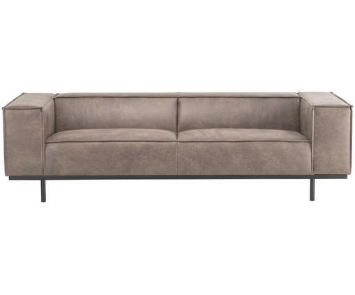 Leder-Sofa Abigail (3-Sitzer) in Braungrau mit Metall-Füßen