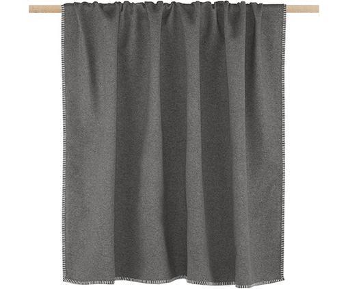 Baumwolldecke Sylt in Grau mit Ziernaht