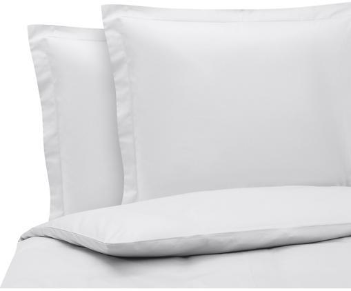 Satin-Bettwäsche Premium aus Bio-Baumwolle in Hellgrau mit Stehsaum