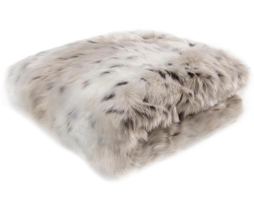 Kuscheldecke Skins aus Kunstfell in Schneeleoparden-Optik