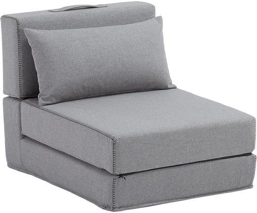 Schlafsessel Arty in Grau mit Zierkissen, ausklappbar