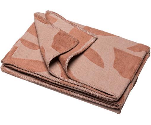 Baumwolldecke Grafic in Terrakotta mit Muster und Steppnaht