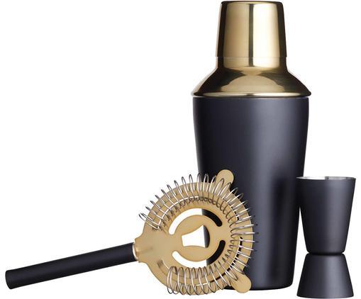 Cocktail-Set Menirau in Schwarz/Gold, 3-tlg.