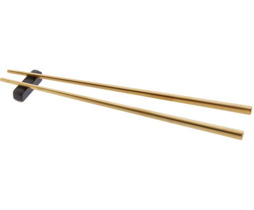 Goldfarbene Essstäbchen Chop mit Ablagen, 2 Paar