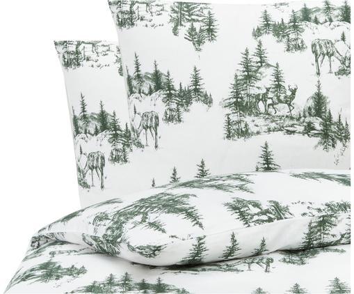 Flanell-Bettwäsche Nordic mit winterlichem Motiv in Grün/Weiß