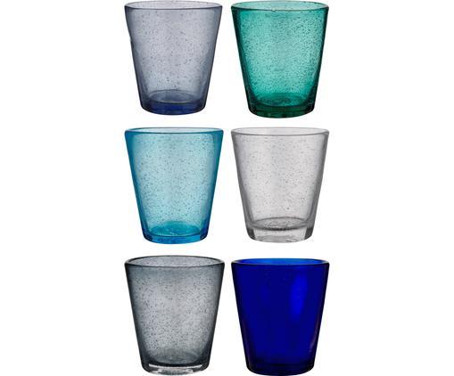 Wassergläser Baita in Blautönen und mit Lufteinschlüssen, 6er-Set