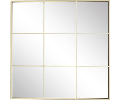 Eckiger Wandspiegel Clarita mit goldenem Metallrahmen