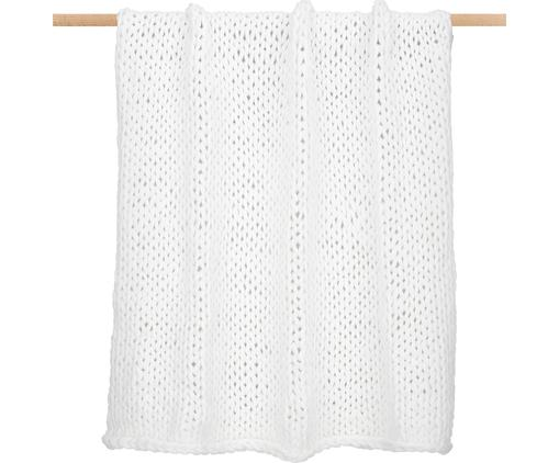 Handgemachte Grobstrick-Decke Adyna in Weiß