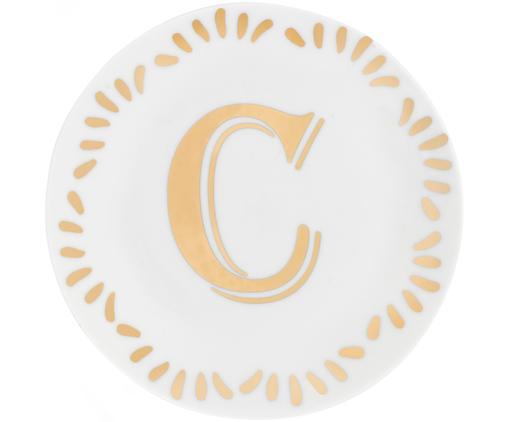 Porzellan-Frühstücksteller Yours mit Buchstaben (Varianten von A bis Z) in Gold