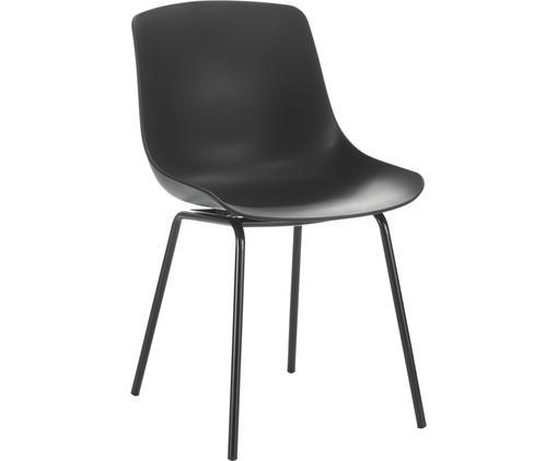 Kunststoffstühle Dave mit Metallbeinen in Schwarz, 2 Stück