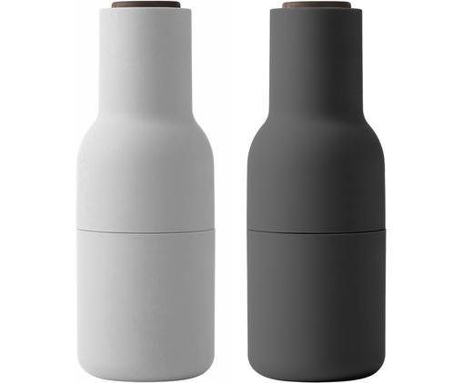 Designer Salz- & Pfeffermühle Bottle Grinder in Anthrazit/Hellgrau mit Walnussholzdeckel