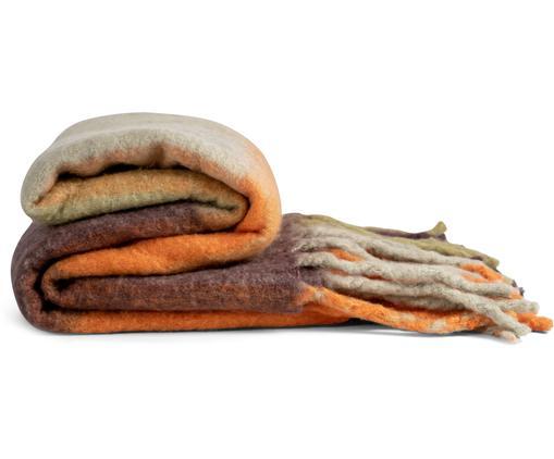 Wolldecke Check mit Fransen in Braun/Orange