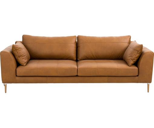 Leder Big Sofa Canyon (3-Sitzer) in Cognacfarben mit Holz-Füßen