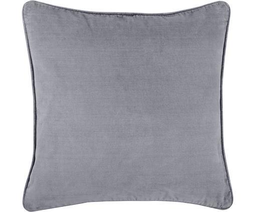 Einfarbige Samt-Kissenhülle Dana in Grau
