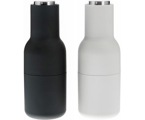Designer Salz- & Pfeffermühle Bottle Grinder in Anthrazit/Hellgrau mit Edelstahldeckel