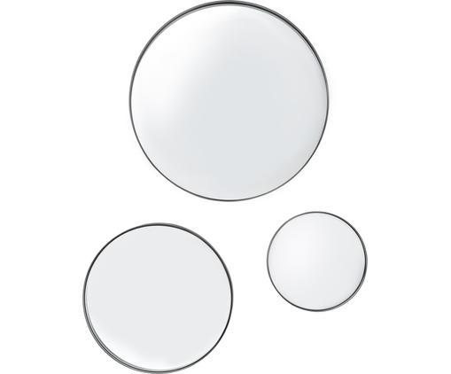 Rundes Wandspiegel-Set Ivy mit schwarzem Metallrahmen, 3-tlg