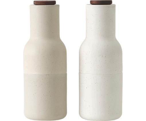 Designer Salz- & Pfeffermühle Bottle Grinder in Beige mit Holzdeckel