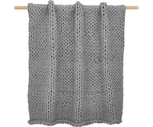 Handgemachte Grobstrick-Decke Adyna in Hellgrau