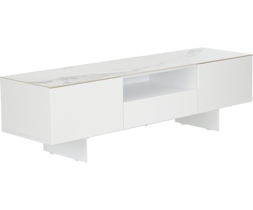 Weißes TV-Lowboard Fiona mit Oberfläche in Marmor-Optik