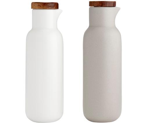 Essig- und Öl-Spender Essentials aus Porzellan und Akazienholz, 2er-Set