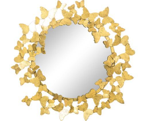 Runder Wandspiegel Butterfly mit goldenem Metallrahmen