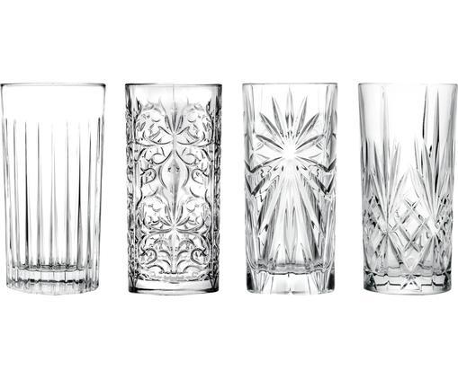 Kristall-Longdrinkgläser Bichiera mit Relief, 4er-Set