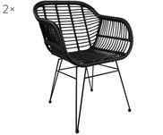 Chaises à accoudoirs en polyrotin Costa, 2pièces