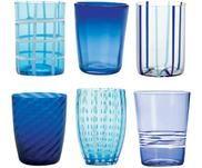 Bicchiere acqua in vetro Melting Pot Sea, set di 6