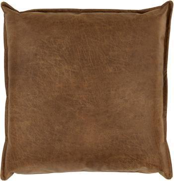 Coussin canapé 60x60 en cuir recyclé brun Lennon