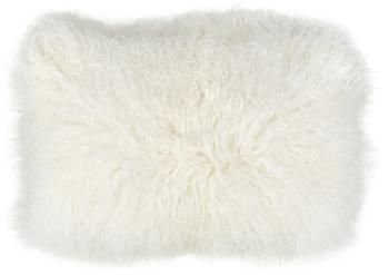 Kussenhoes van langharige schapenvacht Ella in natuurwit, gekruld
