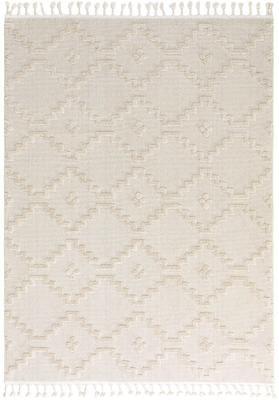 Teppich Oyo in Creme mit Hoch-Tief-Muster im Boho Stil