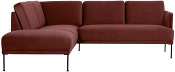 Canapé d'angle velours rouge rouille Fluente