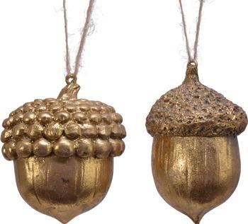 Decoratieve hangers Eikel H 8 cm, 2 stuks