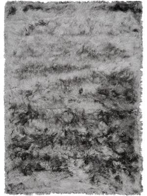 Glänzender Hochflor-Teppich Jimmy in Hellgrau