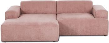 Canapé d'angle 3places velours côtelé rose Melva