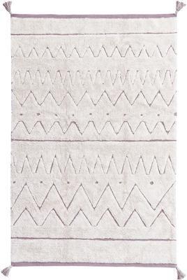 Alfombra lavable de agodón con borlas Azteca