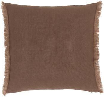 Housse de coussin lin brun foncé Luana