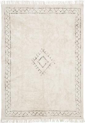 Ręcznie tuftowany dywan z bawełny w stylu boho z frędzlami Frame