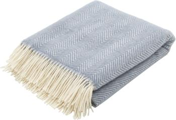 Plaid laine bleu à franges Tirol-Mona