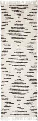 Tapis de couloir en coton bohème tissé à la main avec franges Lines