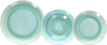 Geschirrset Samoa aus Porzellan mit Farbverlauf in Grüntönen, 6 Personen (18-tlg.)